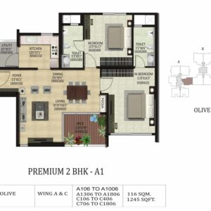 2 BHK A1 -Olive-Shapoorji Pallonji Park West Floor Plan