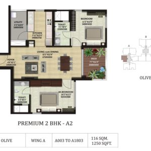 2 BHK A2 -Olive-Shapoorji Pallonji ParkWest Floor Plan