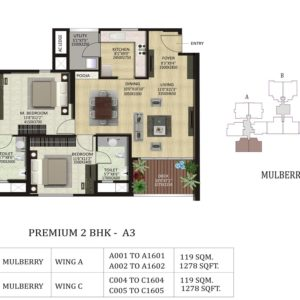 2 BHK A3 -Mulberry-Shapoorji Pallonji ParkWest Floor Plan