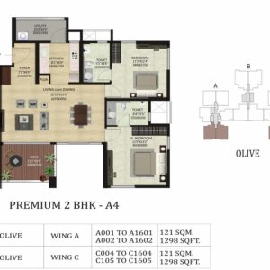 2 BHK A4 -Olive-Shapoorji ParkWest Floor Plan