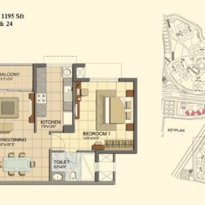 2 BHK- Type A- T23-T24- Prestige Lakeside Habitat Floor Plan