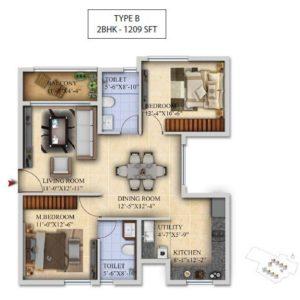 2 BHK-Type B- Salarpuria Sattva Divinity Floor Plan