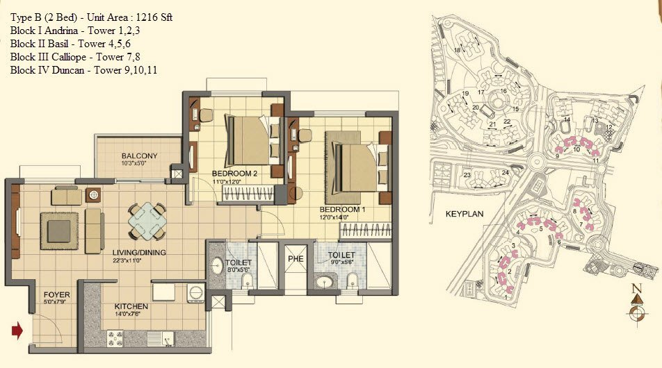 Prestige lakeside habitat bangalore prestige constructions for Lakeside floor plan