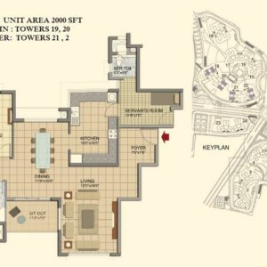 2 BHK- Type H1- TOWER 19-20-21-22- Prestige Lakeside Habitat Floor Plan