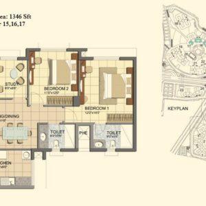 2.5 BHK- Type C- T15-16-17- Prestige Lakeside Habitat Floor Plan