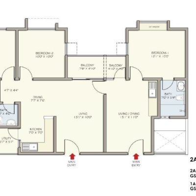 2A+1A floor Plan Republic  of Whitefield