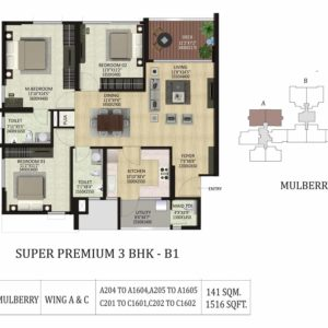 3 BHK B1-Mulberry-Shapoorji Pallonji ParkWest Floor Plan