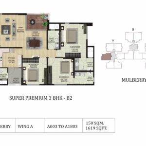 3 BHK B2-Mulberry-Shapoorji Pallonji ParkWest Floor Plan