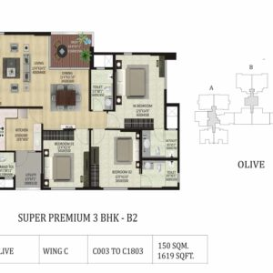 3 BHK B2-Olive-Shapoorji ParkWest Floor Plan