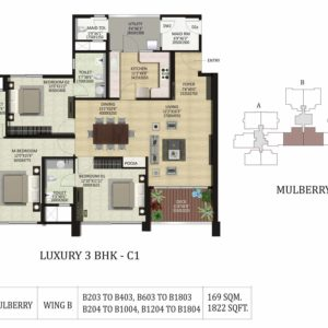 3 BHK C1-Mulberry-Shapoorji Pallonji ParkWest Floor Plan