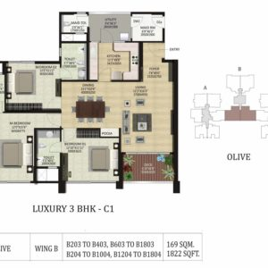 3 BHK C1-Olive-Shapoorji ParkWest Floor Plan