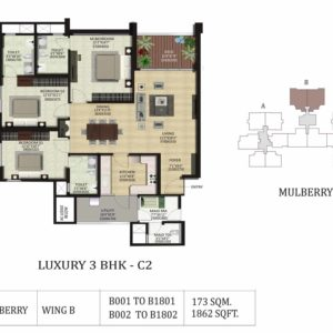 3 BHK C2-Mulberry-Shapoorji ParkWest Floor Plan