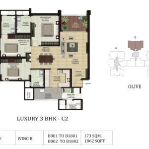 3 BHK C2-Olive-Shapoorji ParkWest Floor Plan
