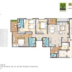 3 BHK Type 1A Floor Plan