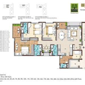 3 BHK Type 2A Floor Plan