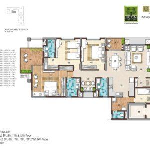 3 BHK Type 2B Floor Plan
