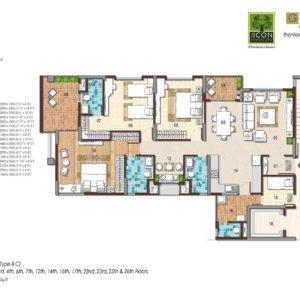 3 BHK Type 2C Floor Plan