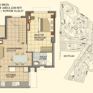 3 BHK- Type C1-DUPLEX-LOWER LEVEL-TOWER 15-16-17- Prestige Lakeside Habitat Floor Plan