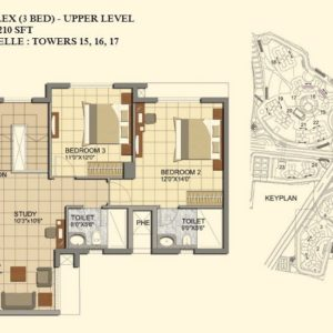 3 BHK- Type C1-DUPLEX-UPPER LEVEL-TOWER 15-16-17