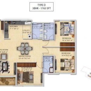 3 BHK-Type D - Salarpuria Sattva Divinity Floor Plan