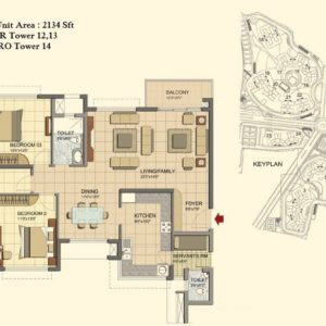 3 BHK- Type F-Tower 12-13-14- Prestige Lakeside Habitat Floor Plan