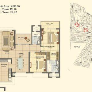 3 BHK- Type G- Tower-19-20-21- Prestige Lakeside Habitat Floor Plan