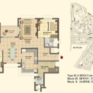 Prestige Lakeside Habitat Floor Plan 3 BHK- Type H-Tower 19-20-21-22-