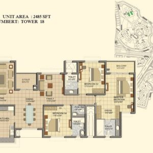 3 BHK- Type J1-Tower 18- Prestige Lakeside Habitat  Plans