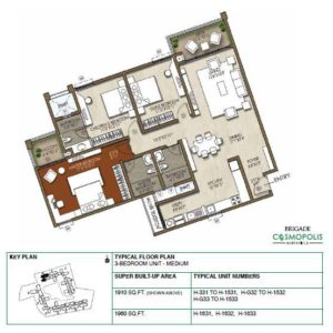 3-Bedroom -1910 Sft-Floor-Plan