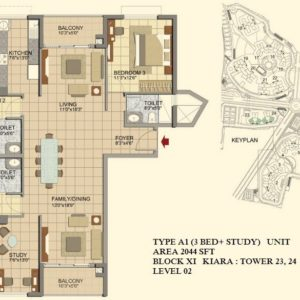 3.5 BHK- TypeA1- T23-24- Prestige Lakeside Habitat Floor Plan