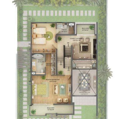3990 Sq.ft Villa First Floor Plan