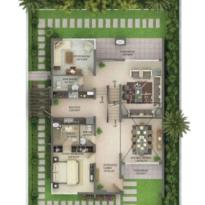 3990 Sq.ft Villa Ground Floor Plan