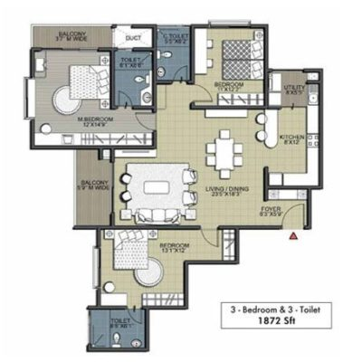 Cedar 3BHK 3T Floor Plan