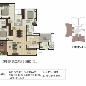 3BHK D1-Emerald-shapoorji pallonji floor plan