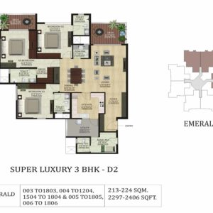 3BHK D2- Emerald-shapoorji pallonji floor plan