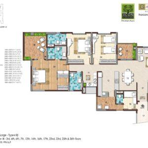 3BHK Large Type 2B Floor Plan