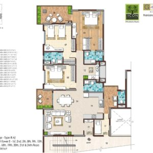 3BHK Large Type 3A Floor Plan