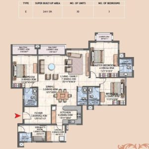 3BHK Type E Floor plan prestige Silver oak