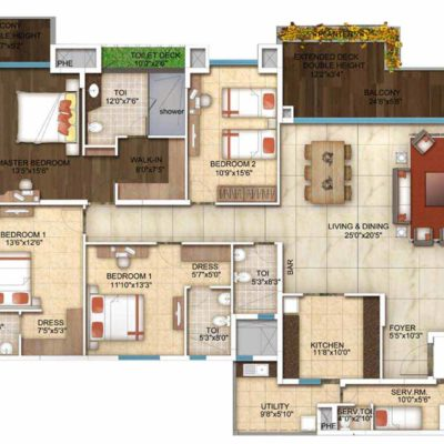 4 Bedroom-Floor Plan-The five Summits Address in whitefield