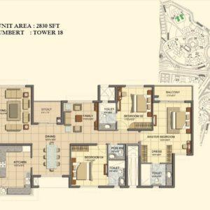 4 BHK- Type J- TOWER 18- Prestige Lakeside Habitat Floor Plan