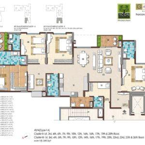 4BHK Type 1A Floor Plan