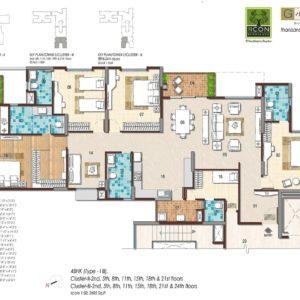 4BHK Type 1B Floor Plan