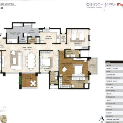4 BHK Floor Plan - Windchimes by Mahindra Lifespaces