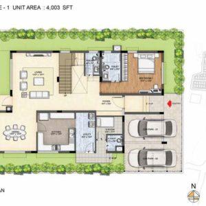Baylene -Type 1-villa Ground floor plan