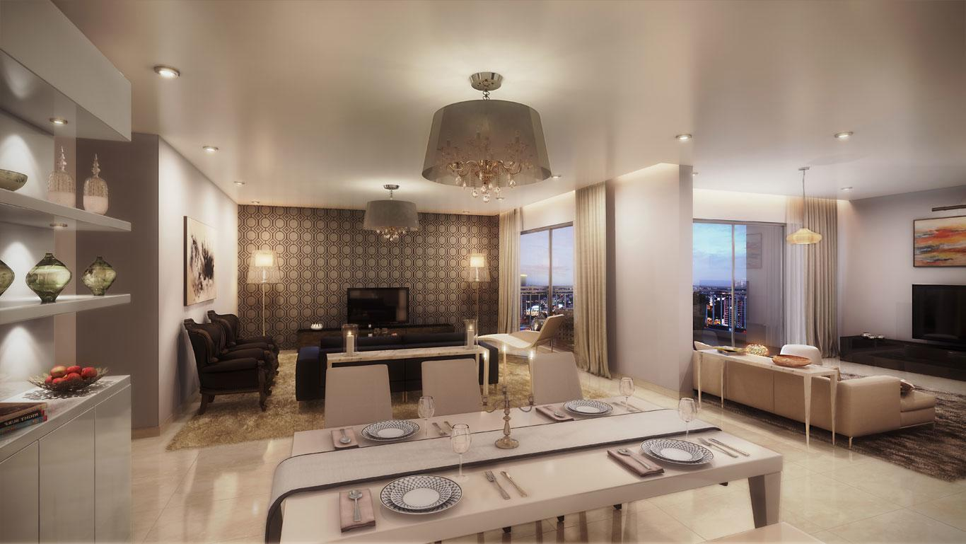 Brigade cosmopolis apartments whitefield brigade group for Dining room and living room
