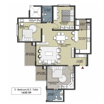 Deodar 3BHK 2T Floor Plan
