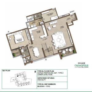 Duplex PentHouse-Type2-Lower-Level-Floor-Plan