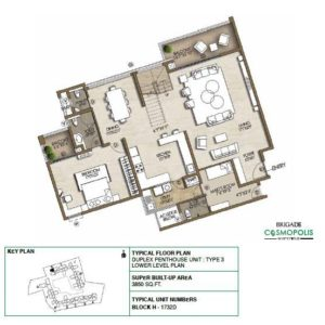 Duplex PentHouse-Type3-Lower-Level-Floor-Plan