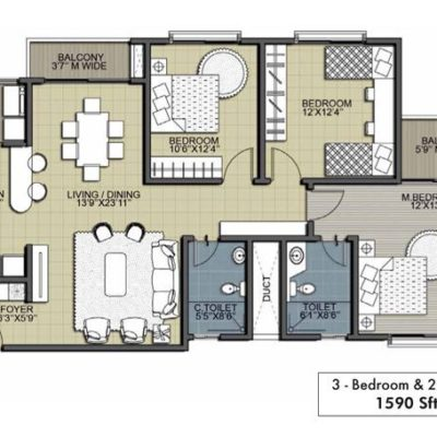Ebony 3BHK 2T Floor Plan