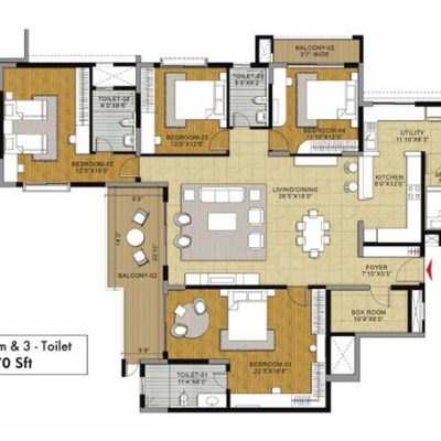 Fern 4BHK 3T Floor Plan
